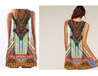 Wholesale Digital Printed Satin - Fashion Womens Sleeveless Chiffon Dress Geometry Pattern Digital Print Evening Party Dresses