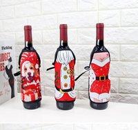 Wholesale Xmas Aprons - Christmas Apron Wine Bottle Cover Xmas Santa Claus Table Decoration Elk Snow Man Deer Wine Champagne Decoration Party Favor 150pcs