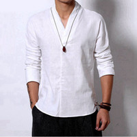 Wholesale Shirt Vintage Male - autumn Summer Men Casual Linen tshirts camisa Social masculinas Fat male Loose t shirt Slim Fit Party vintage V neck t-shirt
