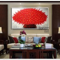 Wholesale Red Floral Wall Art - Nice Red Flowers Painting 100% Hand Painted Oil Painting on Canvas Modern Fashion Home Wall Art Decoration Gift