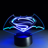 2017 Hot Superman 3D Optical Night Light 9 LED Night Light DC 5V Colorido 3D Lamp Touch Control Switch