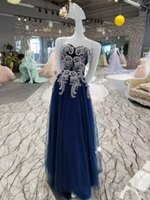 Wholesale Line Luxury Heart - Real Photos Sweet heart Luxury Long Prom Dress Lace Beaded Crystals Blue Evening Dresses 2017 Party Dresses Luxurious Styles Evening Dresses