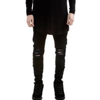 homens nova moda jeans preto venda por atacado-