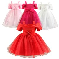 Wholesale girls neck accessories online - PrettyBaby new arrival colors kids girls short sleeves reveal the shoulders bow accessories tutu dress