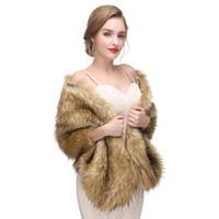 Wholesale Sexy Leather Jackets Fur - 2017 New Arrival Sexy Faux Fur Coat Bridal Wraps Warm Wedding Shawl Jackets Bolero For Wedding Dresses Wedding Jackets