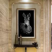 zebra yağı tuvali toptan satış-Modern Baskılı Zebra Tuval Boyama Cuadros Resim Hayvan Manzara Yağlıboya Oturma Odası Zanaat Ev Dekoratif (Yok Çerçeve)