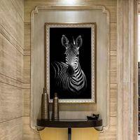 tela de óleo de zebra venda por atacado-Modern Impresso Pintura Da Lona Da Zebra Cuadros Imagem Animal Paisagem Pinturas A Óleo Para Sala de estar Artesanato Casa Decorativa (Sem Moldura)