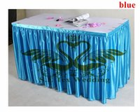 Wholesale Table Cloths Skirts - Sky Blue Color Satin Table Skirt Wedding Table Cloth Skirting Free Shipping