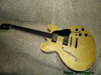 Wholesale 335 Neck - Yellow Flame Top Classic 335 Jazz Guitar Semi Hollow ONE Piece Neck China Guitars