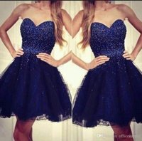 Wholesale Homecoming Dress Bodice - 2016 New Arrival Navy Blue Sweetheart Strapless Tulle Short Homecoming Dresses With Beaded Bodice 2016 New Sexy Cocktail Party Dress