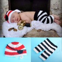 Wholesale Toy Pirates Hat - Baby Photography Props Pirate Shape Crochet Newborn Boys Baby Boy Clothes Knitted Pirate Shape Hat Set Infant Photo Props BP115
