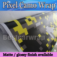 Wholesale Digital Car Mirror - Yellow Digital Tiger Camo Vinyl Car Wrap Styling With air bubble Free Pixel Camouflage Graphics Car Sticker Film 1.52x30m Roll 5x98ft
