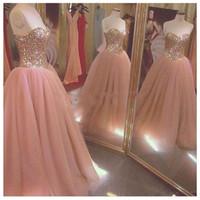 ingrosso vestiti da promenade di qualità-Paillettes scintillanti di alta qualità e abiti Quinceanera in rilievo economici per le ragazze Sweet 15 Prom Dress 2017