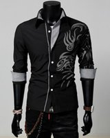 Wholesale Tattoo Dragon New - 2016 cotton blend turn-down collar New Men Male Fashion Silm Fit Shirt Long Sleeve Tattoo Dragon Printed Shirt 4 Colors 4 Size