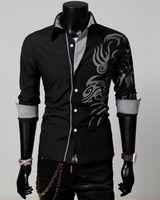 Wholesale Dragon Tattoo Shirts - 2016 cotton blend turn-down collar New Men Male Fashion Silm Fit Shirt Long Sleeve Tattoo Dragon Printed Shirt 4 Colors 4 Size