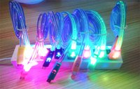 Wholesale Iphone Cable Smile - 1M 3FT cell phone usb charging cable LED line with smile LED premium flat usb charger and sync cable for smartphone 5 6