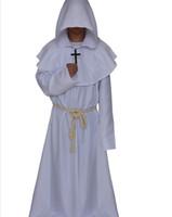 trajes de cosplay medieval al por mayor-Helloween Cosplay traje de fraile medieval Vintage con collar cruzado túnicas de capucha renacentista monje