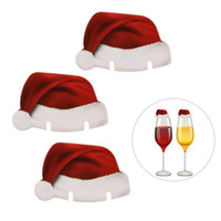 Wholesale Wholesale Xmas Paper - Paper Xmas Hats Champagne Wine Glass Insert Caps Christmas Holiday Party Decorations Christmas Hat Glass Cup Flag Toys