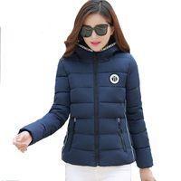 Wholesale Womens Short Red Parka - Hooded plus size 2017 3XL casaco feminino short outerwear cotton padded women winter jacket slim womens coat parka