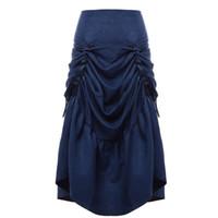 jupe en queue de poisson rouge achat en gros de-Vintage jupe corset gothique rétro femmes victorienne Steampunk Cosplay Long volants Fishtail jupe noir / marron / bleu / rouge