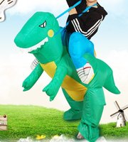 Wholesale Adult Dino Costume - high quality Free shipping Inflatable Dinosaur mascot Costume - Fan Operated Adult Kids Size Novelty party game Halloween Animal Dino
