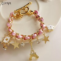Wholesale Cord Star Bracelets Wholesale - Wholesale-Tower Poker Stars flowers ultra-fine leather cord bracelet female fashion affordable wholesale free shipping