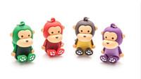 mini msata usb toptan satış-10 Parça 4 GB 8 GB Mini Karikatür Maymun U Disk PVC Maymun USB Flash Sürücüler Yepyeni USB2.0