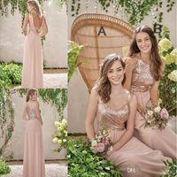 Wholesale Golden Sequin Dresses - Rose Golden A Line Bridesmaid Dresses 2017 Simple Long Chiffon Bridesmaid Gowns Jewel Neck Off the Shoulder Wedding Guest Dresses Hot Sale