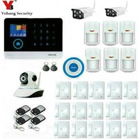 Wholesale Wireless Gsm House Alarm - Wholesale- YobangSecurity Wireless Wifi GSM Burglar Security Alarm System Kit Outdoor Wifi IP Camera For Home Business House Apartment
