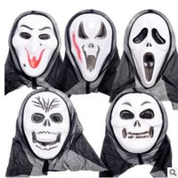 Wholesale Ghost Scream Mask - 5 Styles Halloween Costume Party Mask Scary Vampire Witch Ghost Face Scream Mask with Hood Costume Masquerade Skull Mask CCA7259 1000pcs