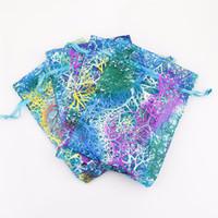 hediye poşetleri toptan satış-Coralline Organze İpli Takı Ambalaj Torbalar Parti Şeker Düğün Favor Hediye Çanta Tasarım Yaldız ile Sırf Desen 10x15 cm 100 adet