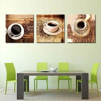Wholesale Black Bean Oil - 3 Picture Combination Canvas Print Wall Art Painting For Home Decor Of A Cup Of Black Coffee And Coffee Beans On Table