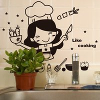 Wholesale Happy Surface - Happy Kitchen Girl Like Cooking Wall Sticker Cute Wall Art Home Decal Decor Kitchen Tile Wall Stickers Mural Wallpaper