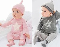 Wholesale Cotton Star Baby - T-shirts pants hat 3pcs sets Star 2016 Spring Fall baby girl clothing European kids 6M 12M 18M 1YEAR 2Y Toddler cotton clothes long sleeve
