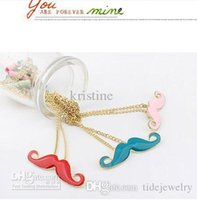 Wholesale Cosplay Free Shipping Europe - Europe and America fashion jewelry for women Vintage Moustache Handlebar Cosplay Mustache golden Long Necklace 20 pcs lot Free Shipping