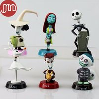 Wholesale Burton Wholesale - New 6PCS Jack Skellington Toy Nightmare Before Christmas Tim Burton Barrel Moving Action Figure Playset Car Decoration Kid Gift