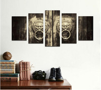 Wholesale Door Knob Decor - Retro black and white Promotion 5 pcs Decoration copper ring lion Door Knob Canvas Painting on wall hanging home decor unframed