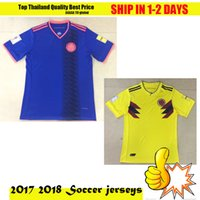 aa45e415b DHL more 10pcs 2018 World Cup Colombia home yellow soccer jersey 1819 away  blue FALCAO JAMES CUADRADO TEO BACCA football shirts ...