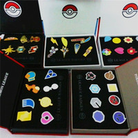 Wholesale Finish Pin - 6 Styles 2-4cm Poke Go League Badges Brooch Toys Pikachu Alloys Pins Anime Figures Toys Kids Toys with Gift Box Packing F637
