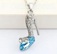 Wholesale dreams necklace resale online - Glass Shoes Pendant Neckalce Cinderella Dream Crystal Shoes Pendant Austrian Crystal Pendant Necklace High Quality for Womem DHL