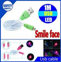 micro cable plano sonrie al por mayor-Cara iluminada de la sonrisa 1 m 3 pies de luz LED Micro USB V8 Visible plana fideos intermitentes Cable de carga de datos para Samsung S4 HTC LG