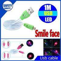 düz erişte ışığı toptan satış-Işıklı Gülümseme Yüz 1 m 3ft LED Işık Mikro USB V8 Düz Görünür Yanıp Sönen Erişte Veri Şarj Kablosu Samsung S4 HTC LG