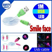 Wholesale Visible Led Usb Charger - Illuminated Smile Face 1m 3ft LED Light Micro USB V8 Flat Visible Flashing Noodle Data Charger Cable For Samsung S4 HTC LG