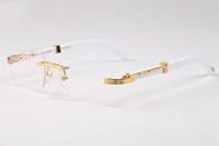 Wholesale Wood Framed Optical Glasses - France Design Men Rimless Glasses Wooden Buffalo Horn Glasses Brand Optical Sunglasses Women Gold Wood Glasses Eyewear Frames
