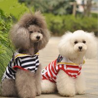 Red Black Stripe Ventilate Puppy Dog Vest Cheap Cute Navy Pet Camisas Pet Supplier Qualidade de Qualidade 6 Size Mix Order 50PCS / LOT