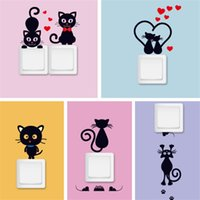 Wholesale Socket Switch Stickers - 5Pcs Set DIY Creative Black Cat Love Cartoon Removable Toilet Refrigerator Switch Wall Stickers Home Decor Decal Socket Paste