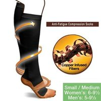 Wholesale Compression Shaper - S-XL Top Quality Hot Anti Fatigue Copper Compression Socks Body Shaper Sports socks Unisex Slimming stockings 100pairs OPP bag FreeShipping