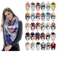 Compra Silenziatori Invernali Per Le Donne-Sciarpa Plaid Coperta Sciarpa Donne Tartan Sciarpa Sciarpa 140CM Griglia Scialle Wrap Lattice Neckchief Cachemire Muffler Winter Pashmina 30pc OOA2911