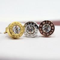 Wholesale Circular Studs - IB4953 CZ diamond earrings rose gold Roman numerals gold titanium steel circular earring jewelry wholesale 8mm