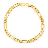 Wholesale figaro link gold chain online - Black Gold Color Stainless Steel Bracelet For Men Jewelry MM Trendy Long Figaro Chain Bracelet Trendy